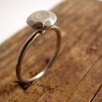 Faceted silver diamond  eco friendly engagement ring by Nafsika