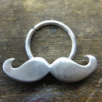 Sterling Silver Mustache Septum Nose Ring donation by JeweLust