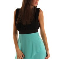 Mint Black Sexy Cut Out Chiffon  High-Low Dress for $17.99 with 40% OFF