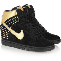 Nike | Dunk Sky Hi suede and metallic leather wedge sneakers | NET-A-PORTER.COM