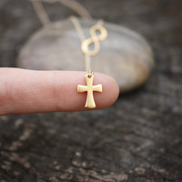 Gold Cross and Infinity Lariat - 24K Gold Dipped Sterling Silver . 14K Gold Filled Deluxe Chain . Gift for Her