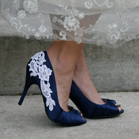 Navy Blue Heel With Venise Lace Applique Size 8 by walkinonair