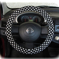 by (CoverWheel) Steering wheel cover for wheel car accessories Polka dot black and white