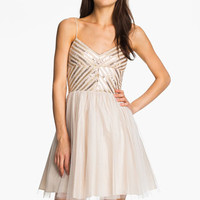 Aidan Mattox Spaghetti Strap Sequin & Tulle Dress (Online Only)
