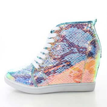 Blue Multi Hologram Lace Up Sneaker Wedges