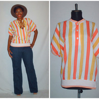 Vintage 1980s Orange Stripe Blouse