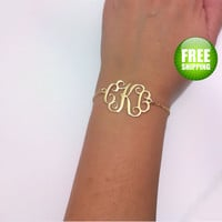 Monogram Bracelet 1.2 inch- Personalized Monogram - 18K Gold Plated & Gold Filled chain, Personalized Jewelry