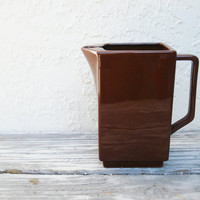 Vintage Brown Pitcher in the Fiesta Style / Tea Pitcher / Water Pitcher / Brown Ceramic Pitcher