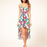 Paprika | Paprika Floral Zip Front Bustier Dress at ASOS