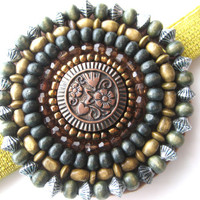Beaded Medallion Headband Elastic Headband Beaded