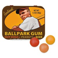 Ballpark Gumballs with Hot Dog, Peanuts, and Beer Flavors in Collectible Tin, Fun & Unique Gifts