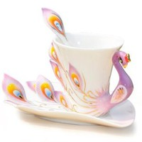 DUSIEC Collectable Fine Arts China Porcelain Tea Cup and Saucer Coffee Cup Peacock Theme Romantic Creative Present