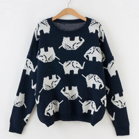 Full Elephant Print Sweater Top for Women Navy blue