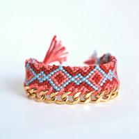 Friendship bracelet with chain, coral, red and blue bracelet, tribal bracelet