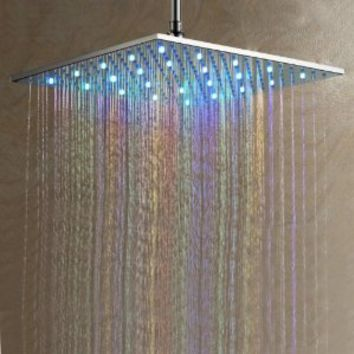 Contemporary 7 Colors Changing LED Chrome Shower Faucet