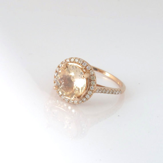 Peach champagne Sapphire ring Diamond from SheAndHimJewelry