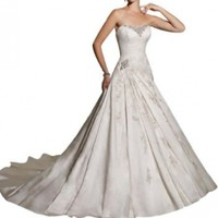 GEORGE BRIDE Strapless Beaded Bodice Satin Court Train Wedding Dress:Amazon:Clothing