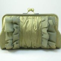 Golden Olive Chiffon Ruffles Clutch Purse by DavieandChiyo on Etsy