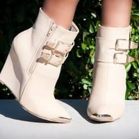 Wild Rose Paulina-01 Buckle Pointy Toe Wedge Bootie (Nude) - Shoes 4 U Las Vegas