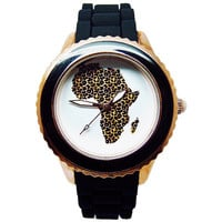 Africa Watch, Women's Black Silicone Watch, Custom Watch