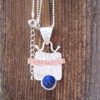 IMAGINE love, success and happiness Sterling Silver, Copper and Lapiz metalsmithed pendant
