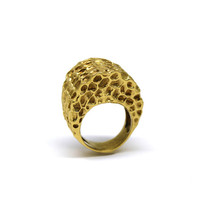 Gold honeycomb ring - Free shipping worldwide