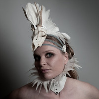 Horned headpiece Taxidermy White deer skull with antler horns Headdress Burning man spectacular headgear