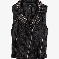 Crinkled Faux Leather Moto Vest | FOREVER 21 - 2000049899