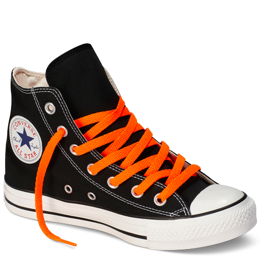 These seasonal high tops have a bright neon orange canvas upper, the standard white outer wrap, toe cap, and toe guard. They have black piping, the standard black and white heel patch, and red white and blue star ankle patch.