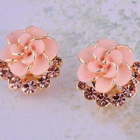 Fashion Pink Camellia Rhinestone Earrings