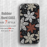 white and red floral illustration  iphone 5 case  silicone cases Iphone 4 covers hard Case Rubber 4s case iphone 4 iPhone 4s Case