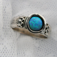 Opal ring. Sterling silver ring. majestic opal by MayaOr on Etsy