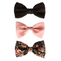 New Look Mobile | 3 Pack Pink Black and Floral Hair Bows