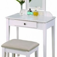 Crown Mark Iris Vanity Table/Stool, White Finish with Beige Seat:Amazon:Home & Kitchen