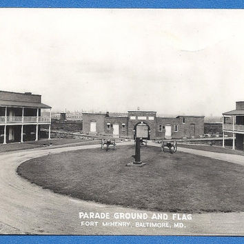 RPPC Parade Ground & Flag, Fort McHenry, Baltimore Maryland unused vintage postcard