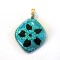 Turquoise Pendant, Flower Pendant, Glass Fusing Jewelry, Mothers Day Jewelry, Large Gold Bail - Fan Dance - 3033 -2