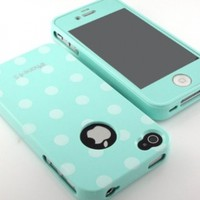 Glossy Polka Dot pattern Flex Gel silicone Case cover and mint screen film included for iPhone 4 4G 4S combo set- mint -:Amazon:Cell Phones & Accessories