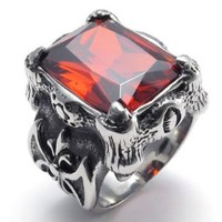 KONOV Jewelry Vintage Stainless Steel Band Red Crystal Dragon Claw Men's Ring, Color Black Silver Red (Available in Size 7, 8, 9, 10, 11, 12, 13) (with Gift Bag)