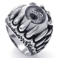 KONOV Jewelry Stainless Steel Gothic Dragon Claw Devil Eye Biker Men's Ring, Color Black Silver (Available in Size 7, 8, 9, 10, 11, 12, 13, 14, 15) (with Gift Bag)