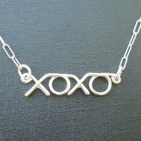 xoxo necklace kiss hug kiss hug  all sterling by PianoBenchDesigns