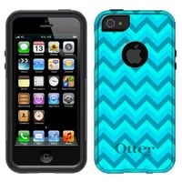 Otterbox Commuter Series Chevron Turquoise Teal Pattern Hybrid Case for iPhone 5