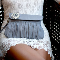 Grey wedding clutch linen with rhinestone brooch