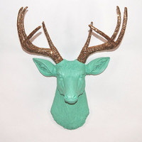 Faux Deer Head  The Arnie  Seafoam Green W/ by WhiteFauxTaxidermy