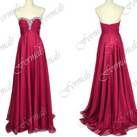 Strapless Floor Length Chiffon Hot Pink Prom Dresses, Long Evening Gown, Wedding party Dresses, Long Formal Gown