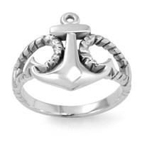 925 Sterling Silver Anchor Ring for Women