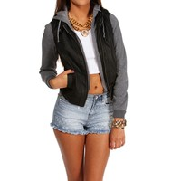 Black Faux Leather Knit Jacket
