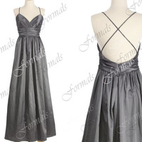 Spaghetti Straps Taffeta Gray Wedding Party Dresses, Gray Prom Dresses, Formal Gown