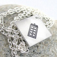 Tardis Necklace - Hand Stamped Doctor Who Pendant on Silver Chain | foxwise - Jewelry on ArtFire