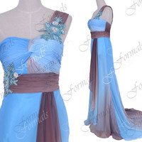 One Shoulder with Beaded Long Chiffon Print Blue Prom Dresses, Evening Dresses, Formal Gown