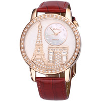 Luxury Eiffel Tower Leather Red Watch